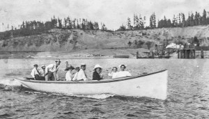 1915 ca Sand Pit - Richmond Beach - Milton Anderson piloting 30-foot launch built by Morton