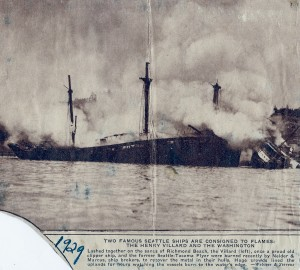 1929 Ship burning for salvage in the cover
