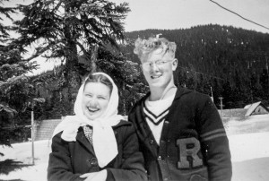 1946 Mary Lou Dunn & Norman Hansen at Snoqualmie Pass