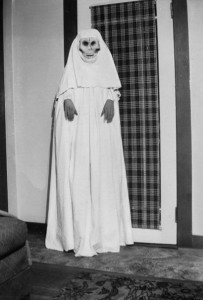 1947-10 NNona Alburty Pederson dressed as a ghost on Halloween
