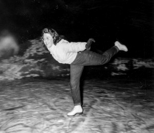 1948 Merna Hansen ice skating on Ronald Bog, later Fuller's Bog