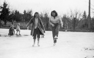 1949-01 Alice Nixon and Merna Hansen on Miss Doyle's pond