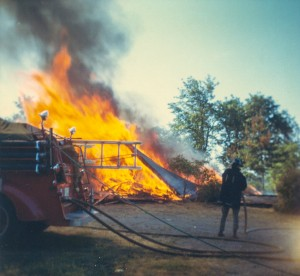 1966-08 This controlled burn was the final chapter in the story of the little hosue. Don was volunteer fireman
