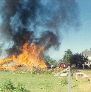 1966-08 View of the controlled burn from pasture east of the little house