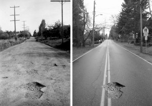 2014-12-18 Fifteenth Ave NW, Richmond Beach pot holes composite